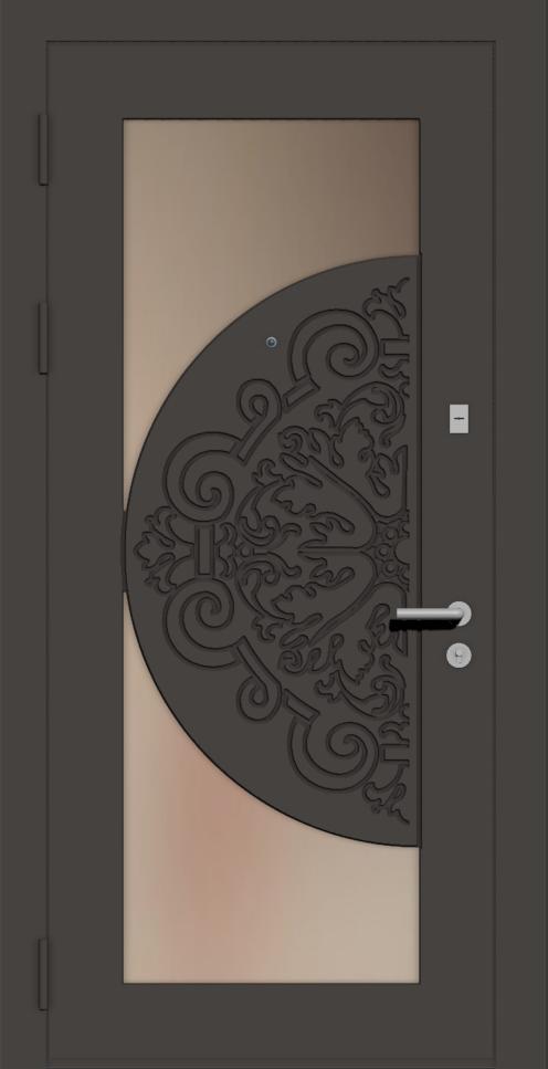 Дверь с зеркалом и стеклом